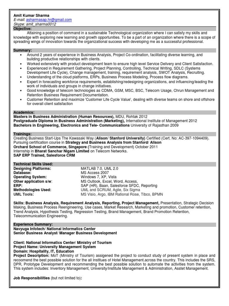 resume business analyst business marketing