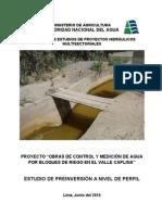 """PROYECTO """"OBRAS DE CONTROL Y MEDICIÓN DE AGUA POR BLOQUES DE RIEGO EN EL VALLE CAPLINA"""""""
