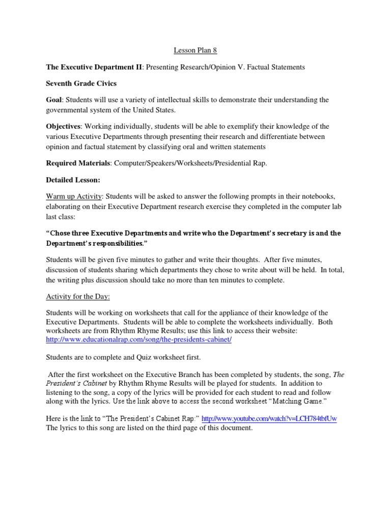 worksheet Executive Branch Worksheet lesson plans day 8
