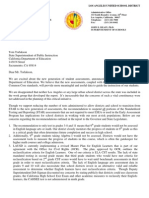 Letter from LAUSD Superintendent John Deasy to State Superintendent Tom Torlakson on January 11, 2013
