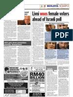 TheSun 2009-02-10 Page10 Livni Woos Female Voters Ahead of Israeli Poll