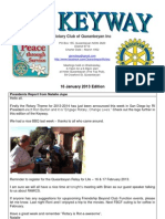 The Keyway - Weekly newsletter for the Rotary Club of Queanbeyan - 16 January 2013 edition