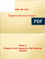 ocupatia de inspector resurse umane