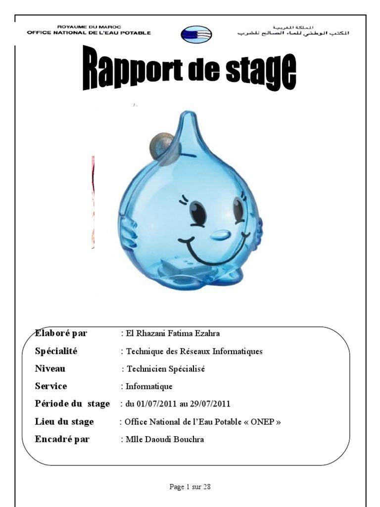 Rapport de stage koudri el mehdi - Office national de l electricite et de l eau potable ...