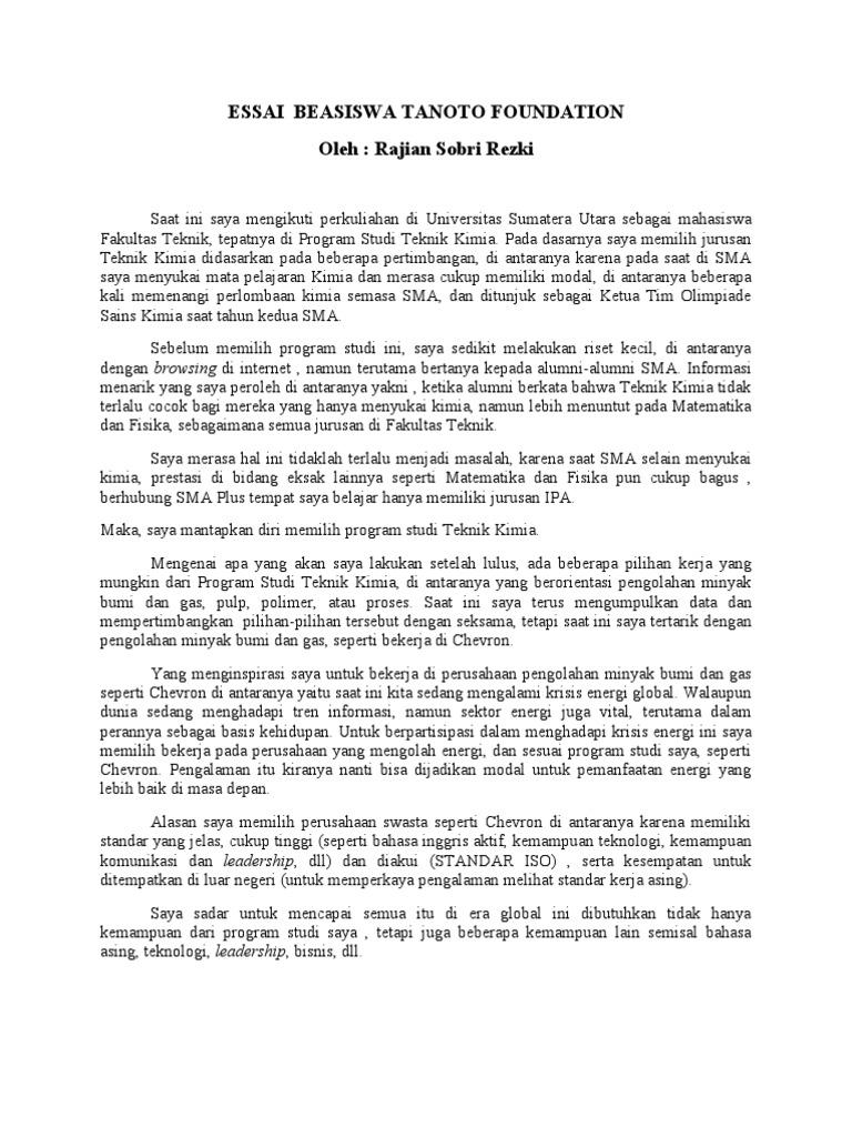 contoh essay untuk beasiswa tanoto