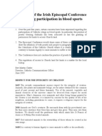 Irish Bishops Statement on Blood Sports