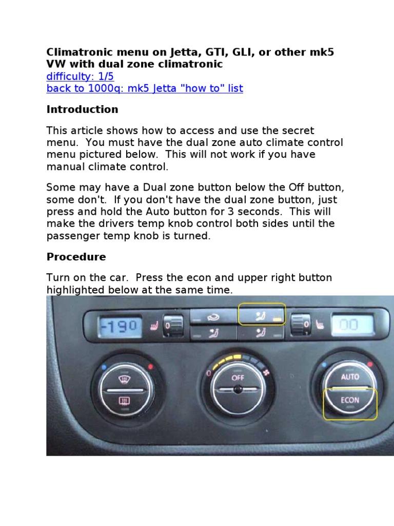 Climatronic menu on VW Jetta