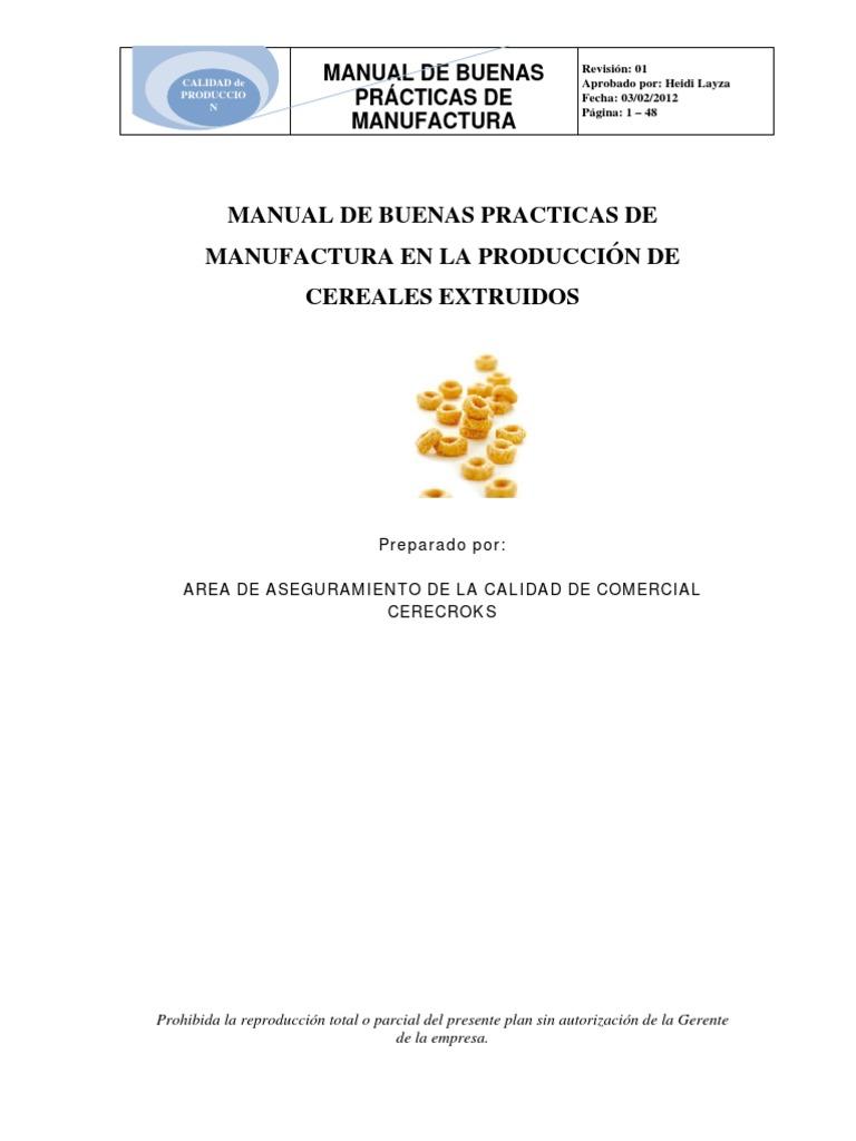 Bpm planta cereales Manual de buenas practicas de manufactura pdf