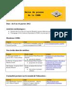 Revue de presse CSMB, vol. XV. no. 20