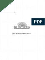 Brantford estimates commitee - budget worksheet, Jan. 15, 2013