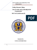 Term Paper Leaders and Leadership in Organizations
