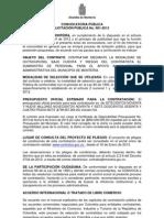 CONVOCATORIA PÚBLICA LICITACIÓN 001-2013