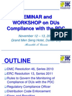 Workshop on DUs Compliance with the PDC