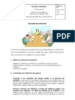 REUNION DE APERTURA EN AUDITORIA