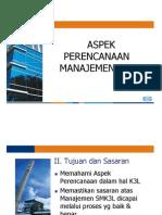 aspek perencanaan manajemen K3L