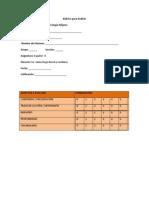 Rúbricas para TLR  2 2013