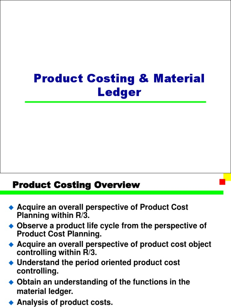 SAP Product Costing & Material Ledger PPT | Inventory