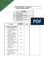 SBR Workshop Equip List
