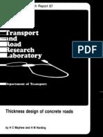 TRRL-Research Report 87-Thick Design of Concrete Roads