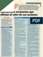 Operaciones societarias y valor de las acciones