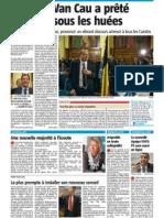 La Nouvelle Gazette - Van cau a prêté serment sous les huées - 04-12-12