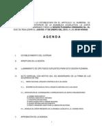 Agenda Sesión Plenaria jueves 17 de enero de 2013