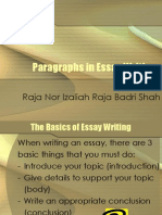 Paragraphs in Essay Writing