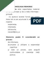 Psihologie medicala. Memoria