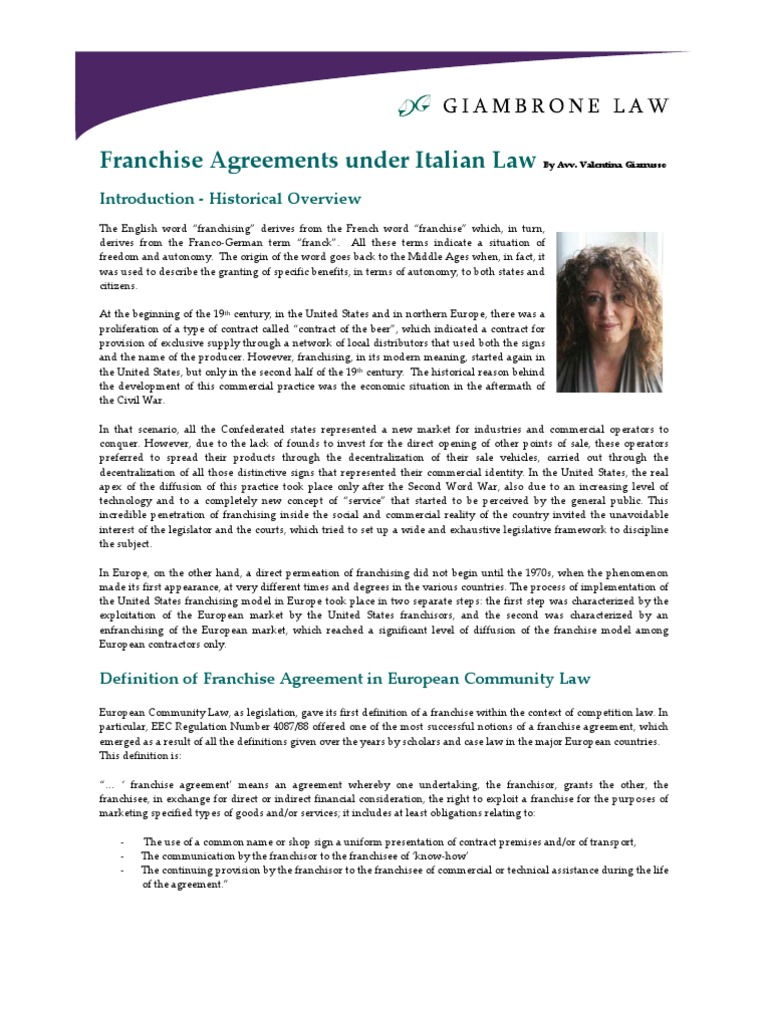 Franchise Agreements Under Italian Law Royalties Franchising