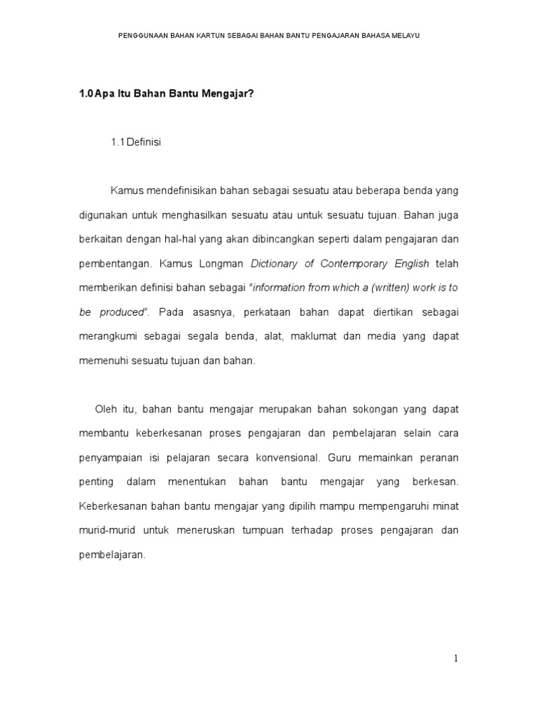 Pemilihan Bahan Kartun Dalam Pengajaran Bahasa Melayu