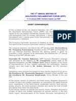 Joint Communique -17th APPF Laos, Jan2009
