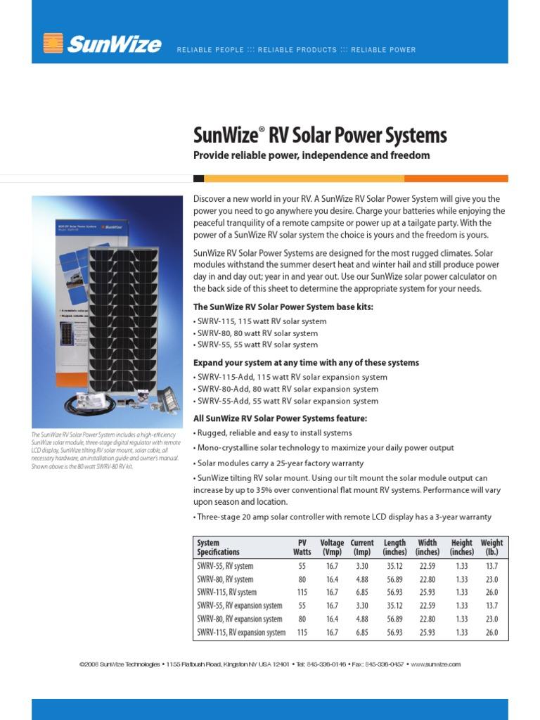 SunWize RV Solar Electric Kits   Photovoltaic System   Solar
