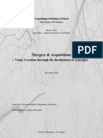 Value creation through synergies in mergers and acquisitions