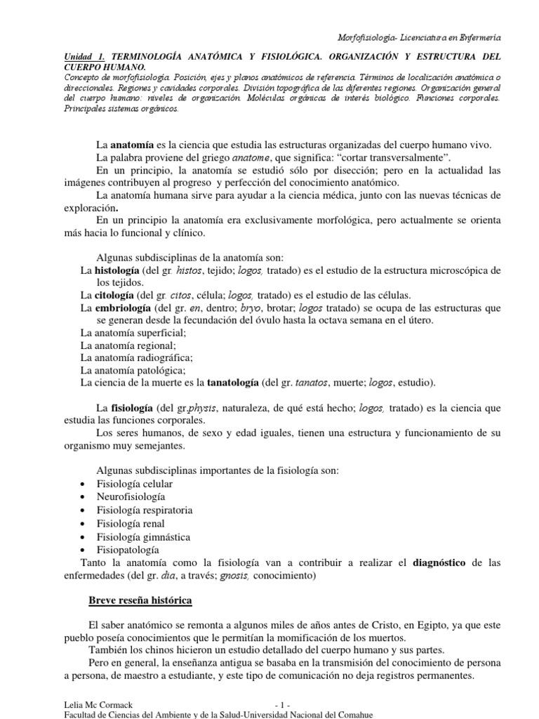 TERMINOLOGÍA ANATÓMICA Y FISIOLÓGICA. ORGANIZACIÓN Y ESTRUCTURA DEL ...