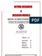 REPORT ON EFFECTIVENESS OF 24/7 POLICY IN ALLIANCE UNIVERSITY