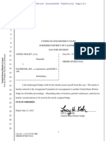 Fraley v. Facebook—Judge Koh Recusal 2012.07.11