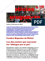 Noticias Uruguayas viernes 18 de enero del 2013