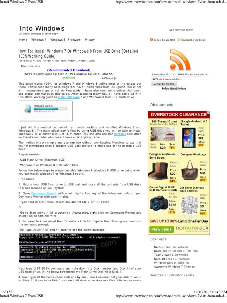 Install Windows 7 From USB   Usb Flash Drive   Booting