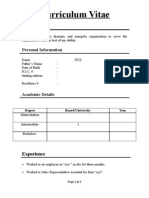 Sample CV of BEGInner Student