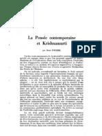 La Pensée contemporaine et Krishnamurti, par René Fouéré