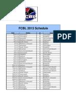 2013 FCBL Master Schedule