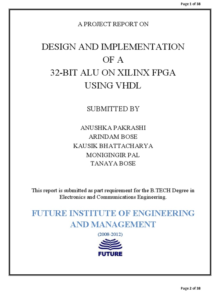 DESIGN AND IMPLEMENTATION OF 32-BIT ALU ON XILINX FPGA USING