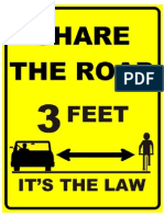 3 Feet Share the Road Sign