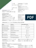 Formelsammlung Physik I