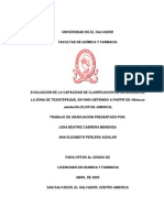 EVALUACION DE LA CAPACIDAD DE CLARIFICACION DE LA ARCILLA DE  LA ZONA DE TEXISTEPEQUE, EN VINO OBTENIDO A PARTIR DE Hibiscus  sabdariffa (FLOR DE JAMAICA)