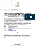 """Capital Pride to Host """"Pride Reveal 2013"""", Previewing this Year's Capital Area LGBTA Pride, Thursday"""