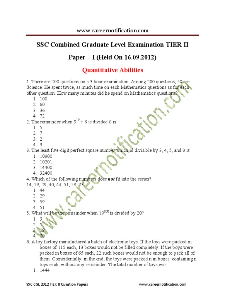 ssc cgl question papers mathematics tier question paper