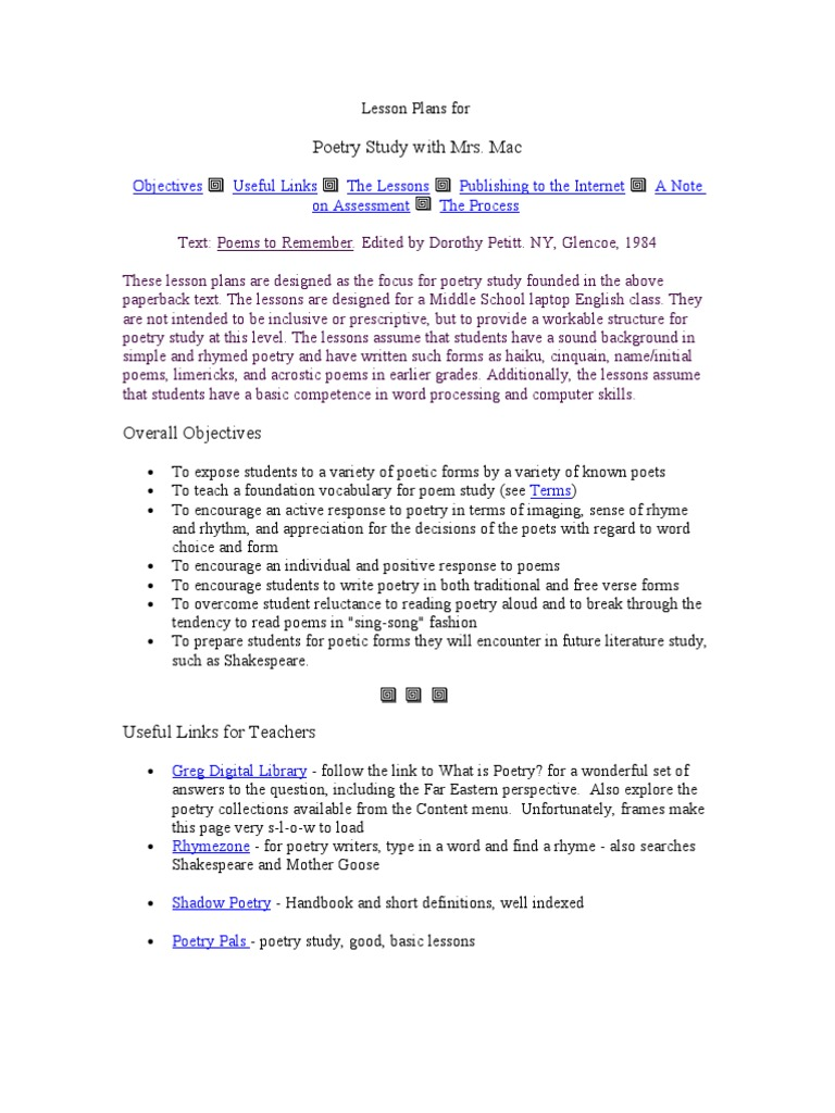 Lesson Plan of poetry Study