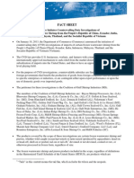 U.S. International Trade Administration Fact Sheet on the shrimp subsidy investigation