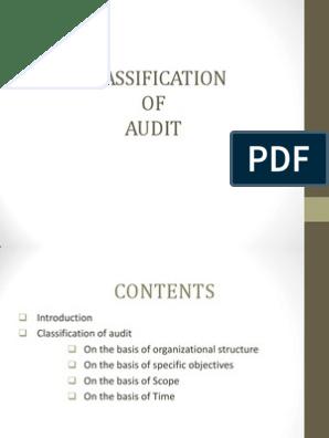 classsificatoion of audit   Audit   Internal Audit